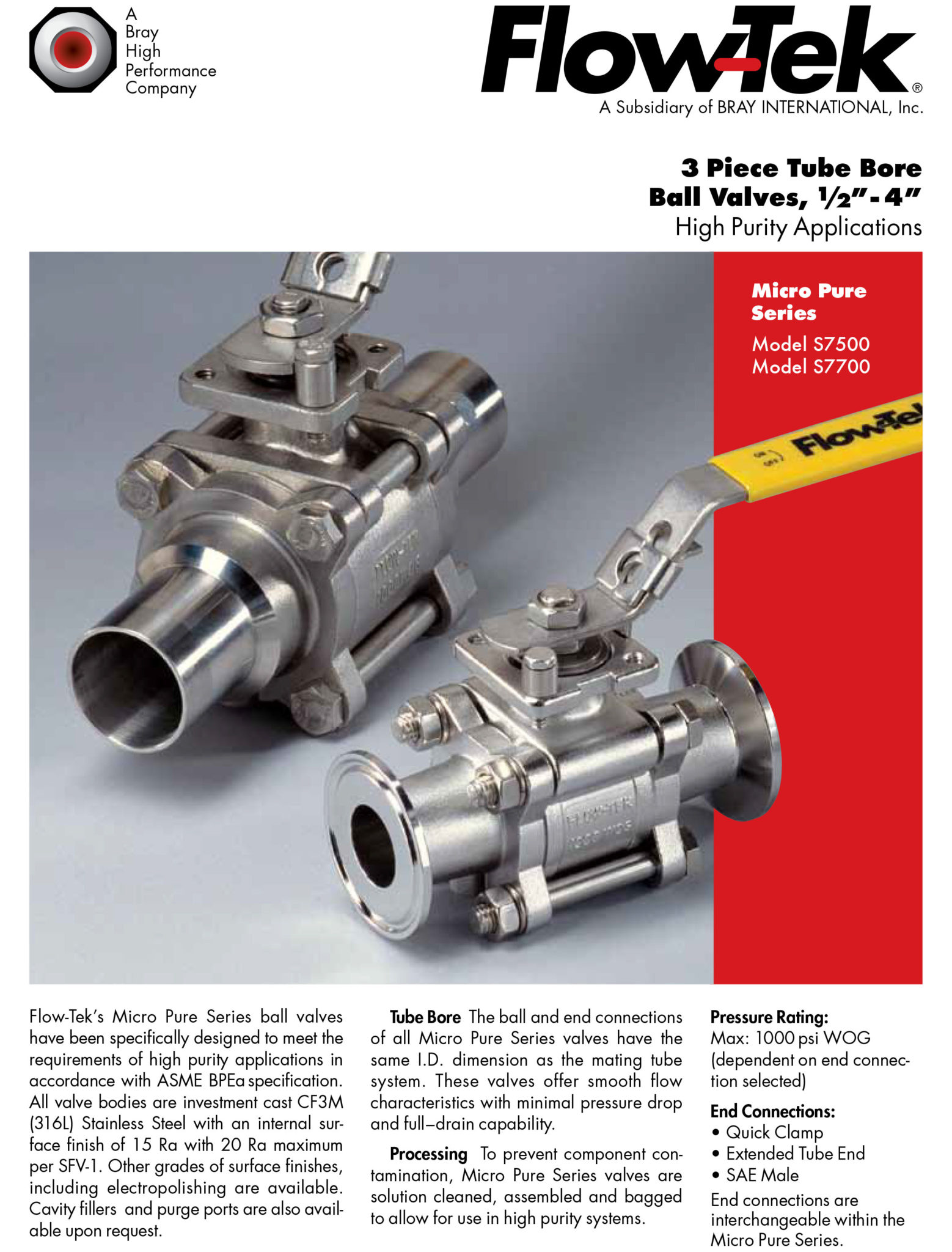 3 Piece Tube Bore Ball Valves